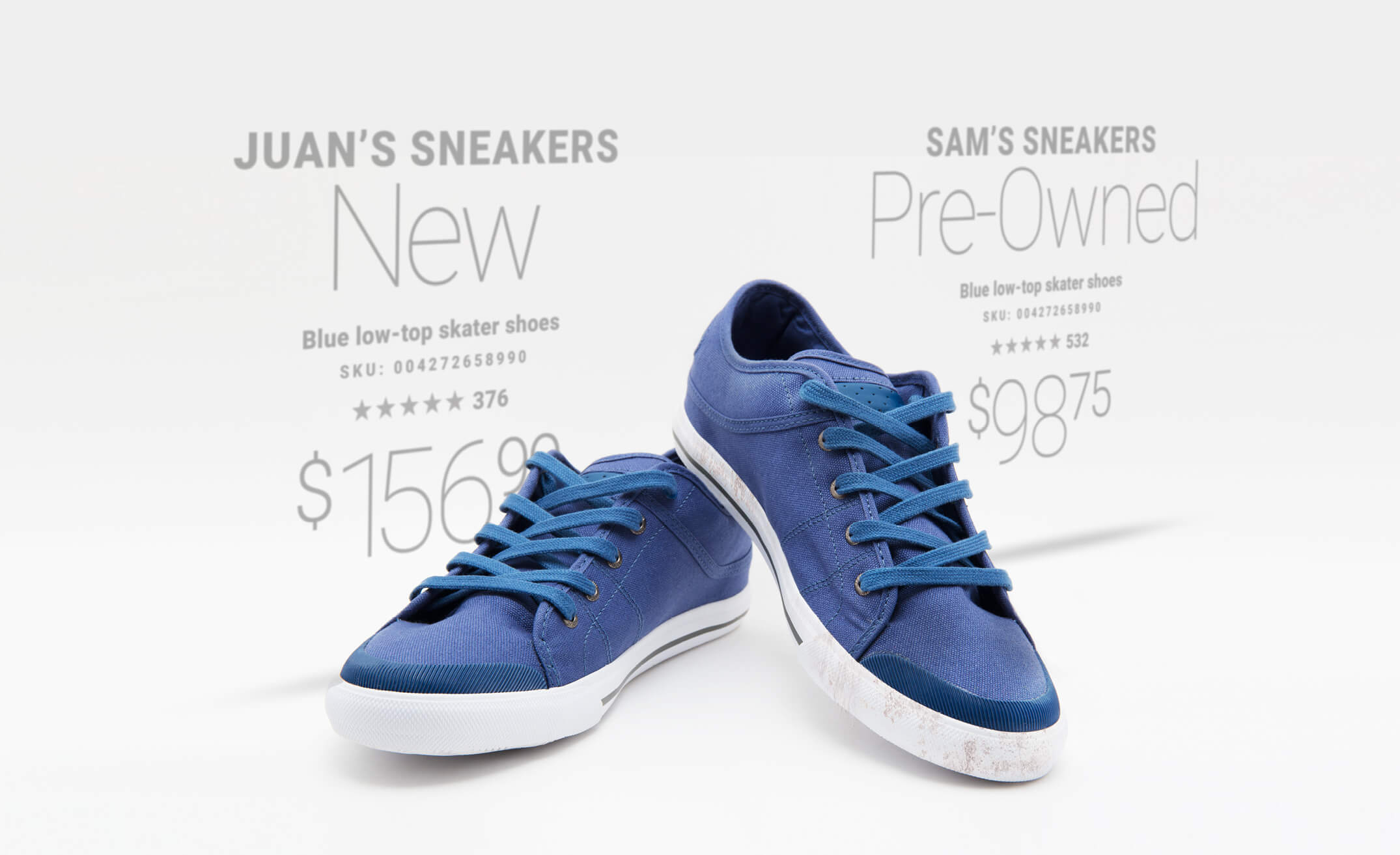 A blue pair of sneakers for sale, new and resale