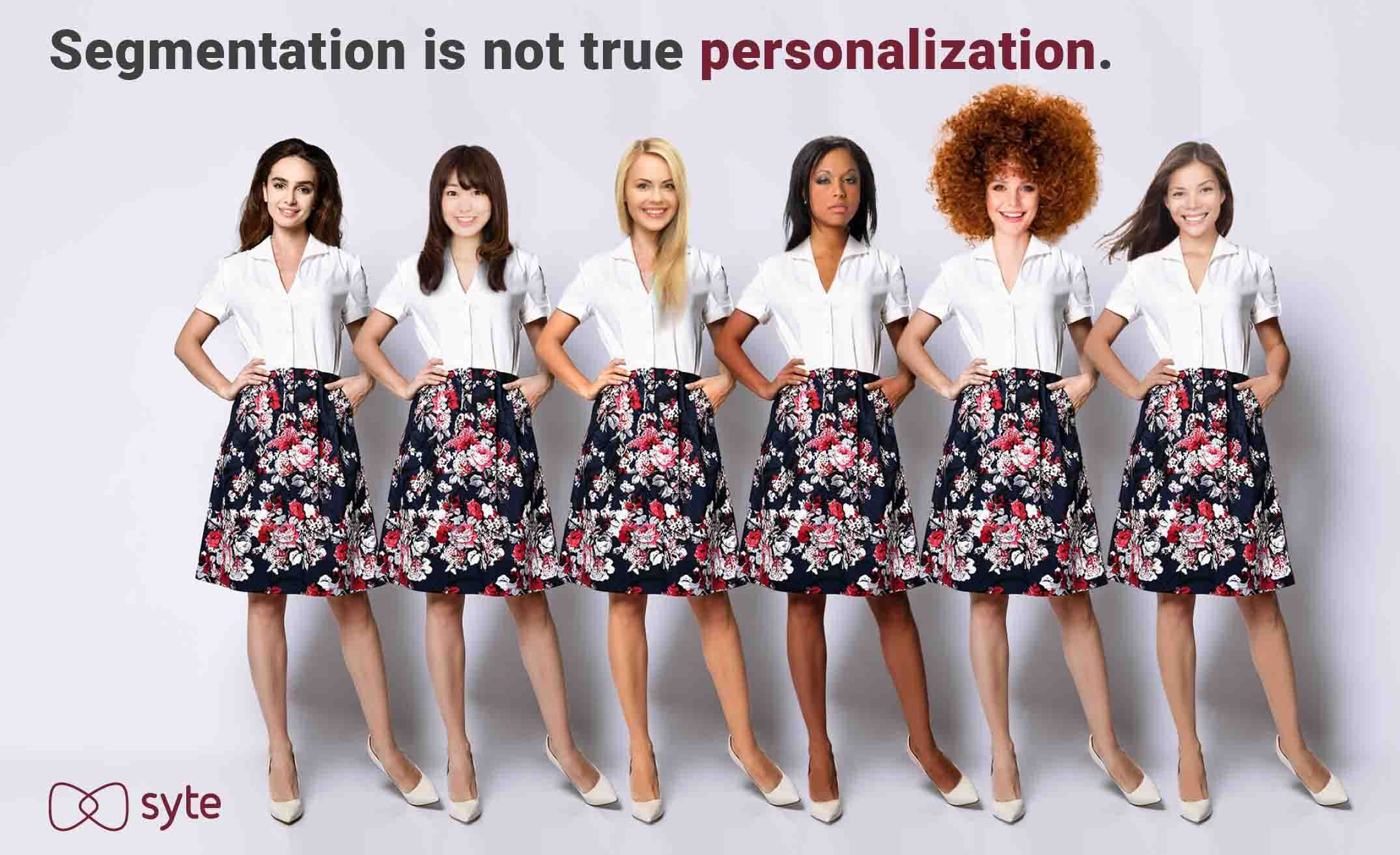 Different women wearing the same outfit due to poor personalization