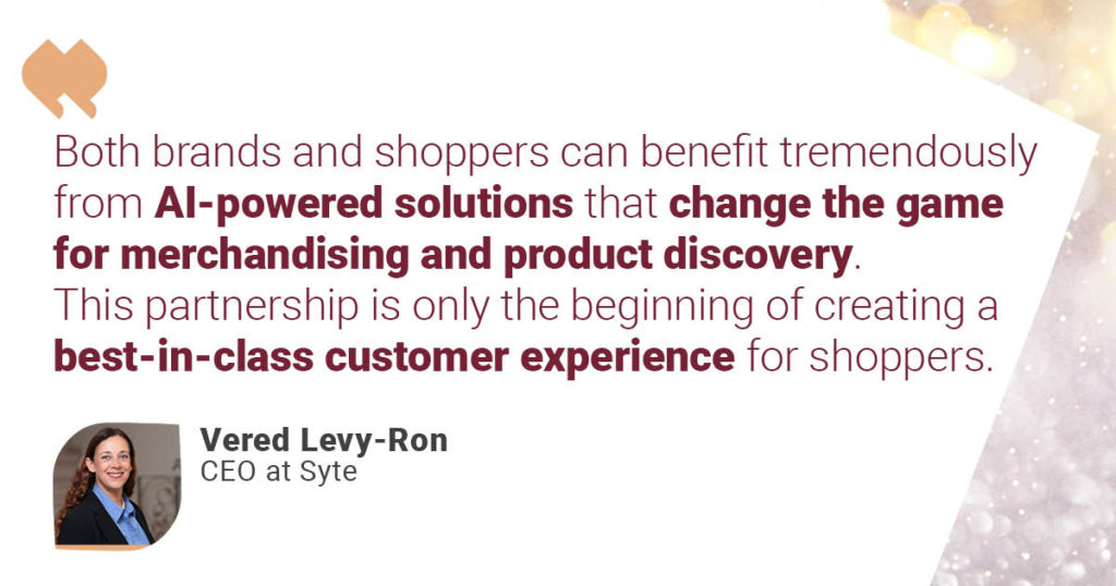 A quote from Syte CEO Vered Levy-Ron celebrating the partnership with SAP Commerce Cloud